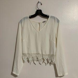 UO White Chiffon Crotchet Long Sleeve crop top